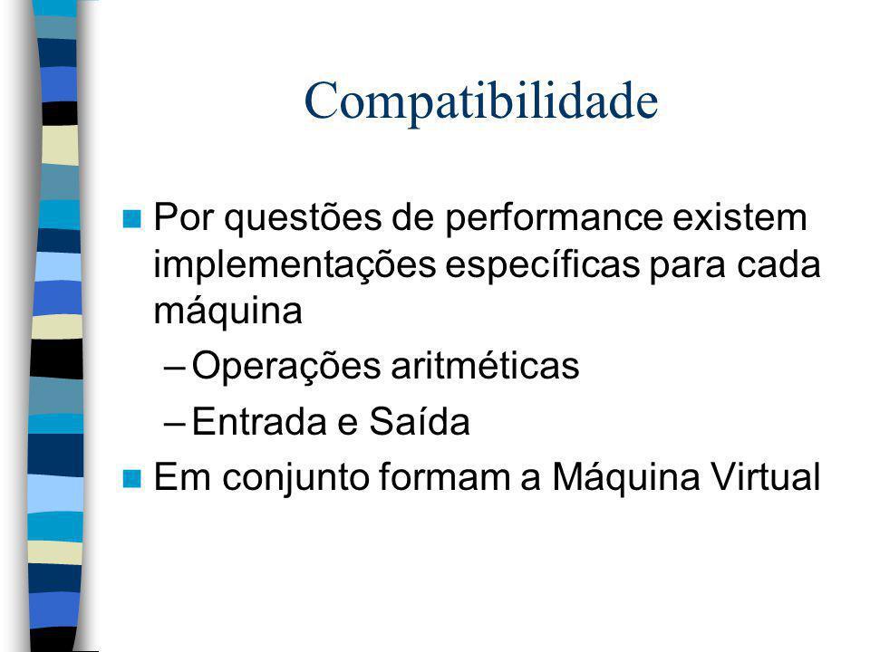 Compatibilidade Por questões de performance existem implementações específicas para cada máquina. Operações aritméticas.
