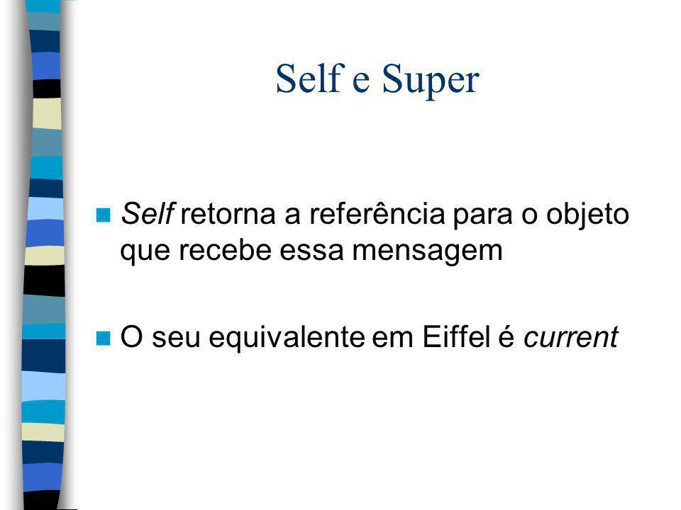 Self e Super Self retorna a referência para o objeto que recebe essa mensagem.