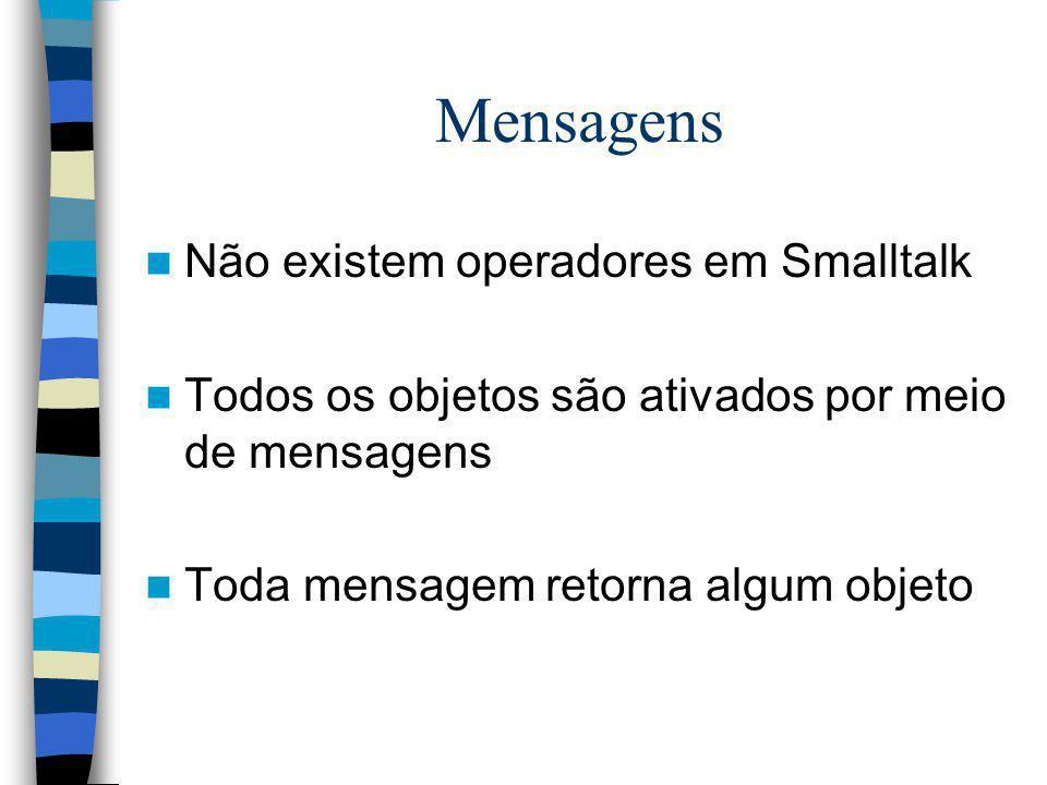 Mensagens Não existem operadores em Smalltalk
