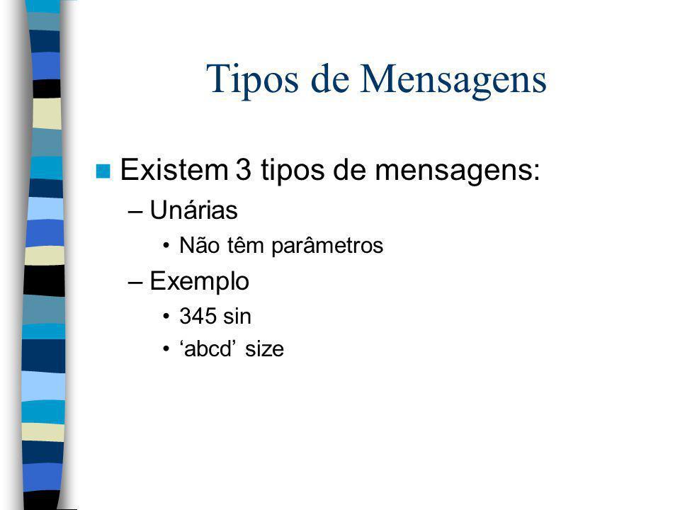 Tipos de Mensagens Existem 3 tipos de mensagens: Unárias Exemplo