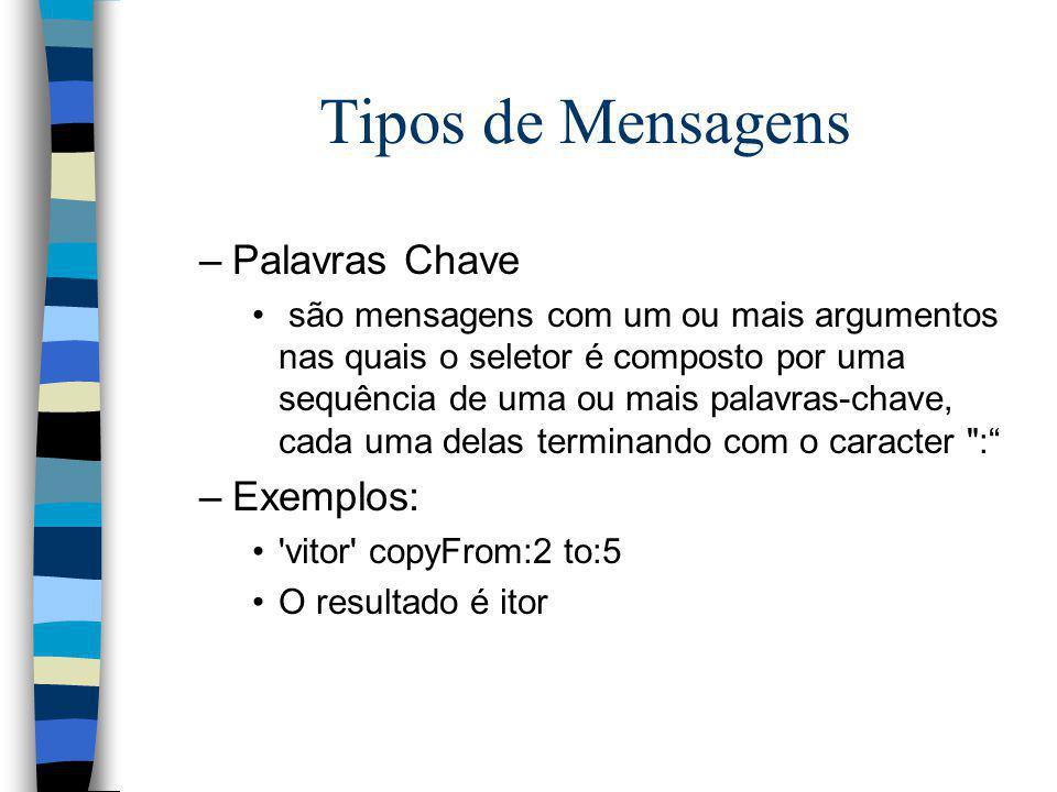 Tipos de Mensagens Palavras Chave Exemplos: