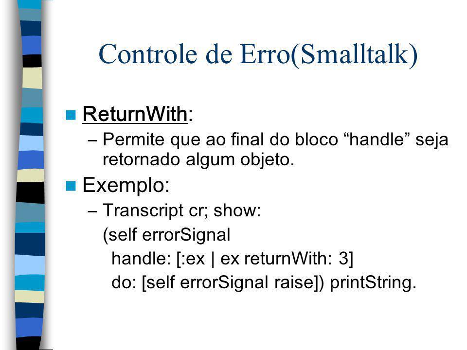 Controle de Erro(Smalltalk)