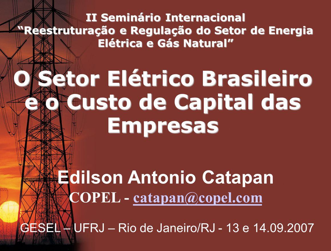 O Setor Elétrico Brasileiro e o Custo de Capital das Empresas