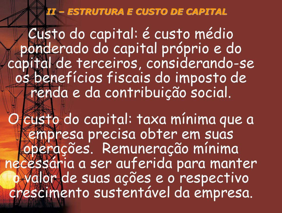 II – ESTRUTURA E CUSTO DE CAPITAL