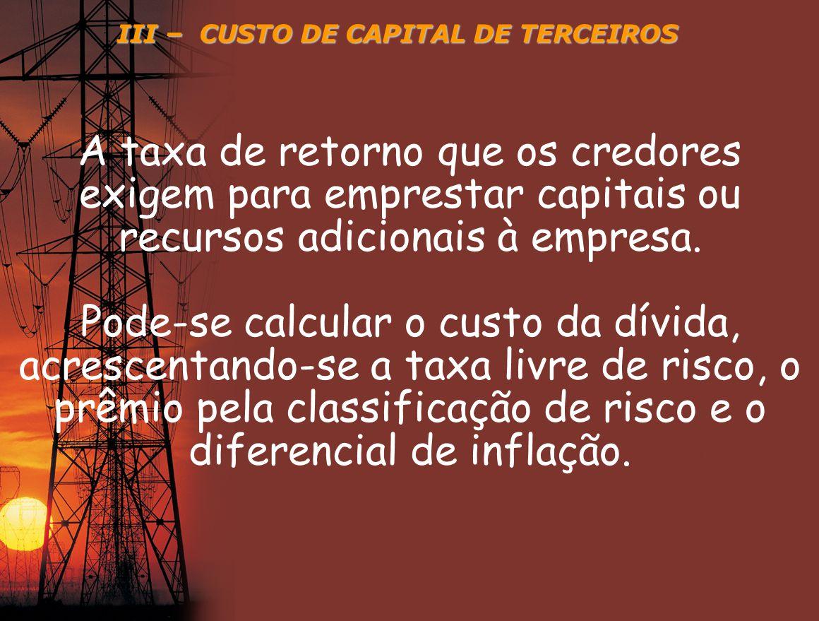 III – CUSTO DE CAPITAL DE TERCEIROS