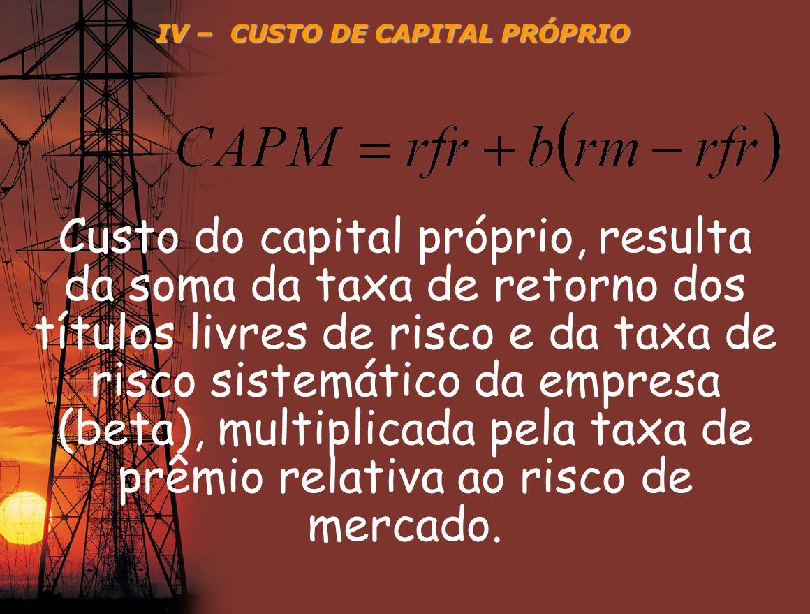 IV – CUSTO DE CAPITAL PRÓPRIO