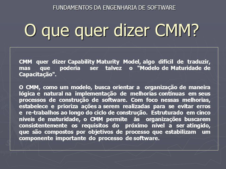 O que quer dizer CMM FUNDAMENTOS DA ENGENHARIA DE SOFTWARE