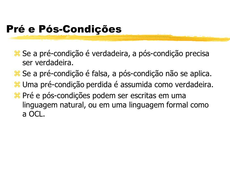 Pré e Pós-Condições Se a pré-condição é verdadeira, a pós-condição precisa ser verdadeira. Se a pré-condição é falsa, a pós-condição não se aplica.