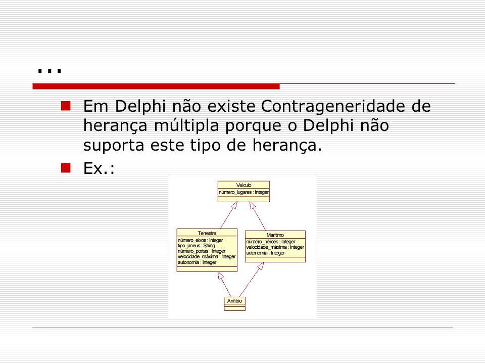 ... Em Delphi não existe Contrageneridade de herança múltipla porque o Delphi não suporta este tipo de herança.