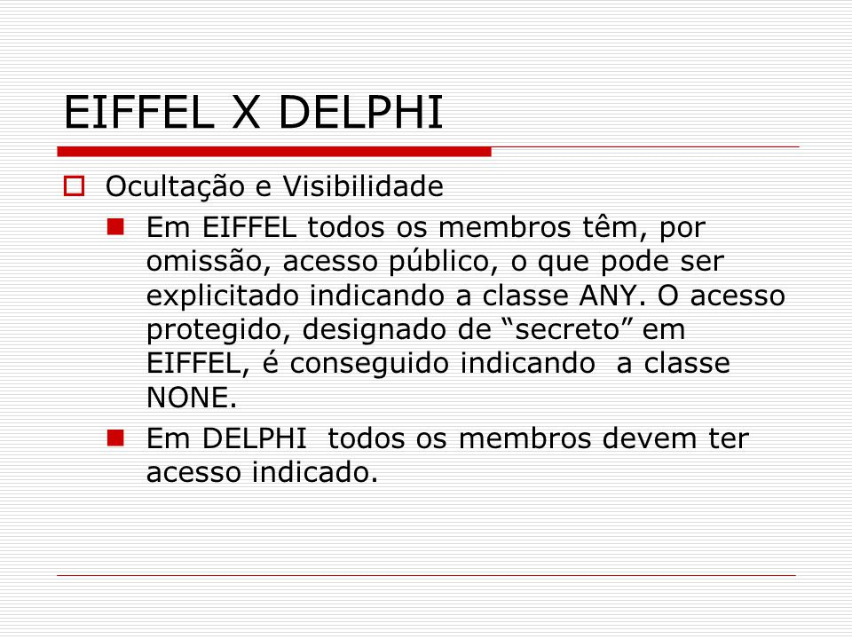 EIFFEL X DELPHI Ocultação e Visibilidade