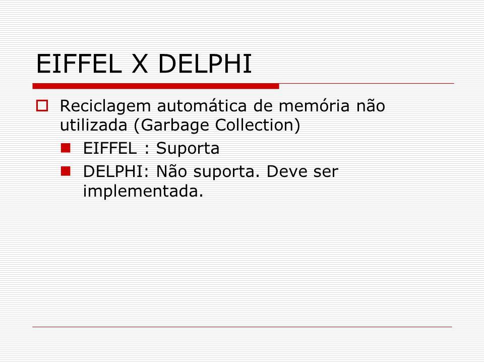 EIFFEL X DELPHI Reciclagem automática de memória não utilizada (Garbage Collection) EIFFEL : Suporta.