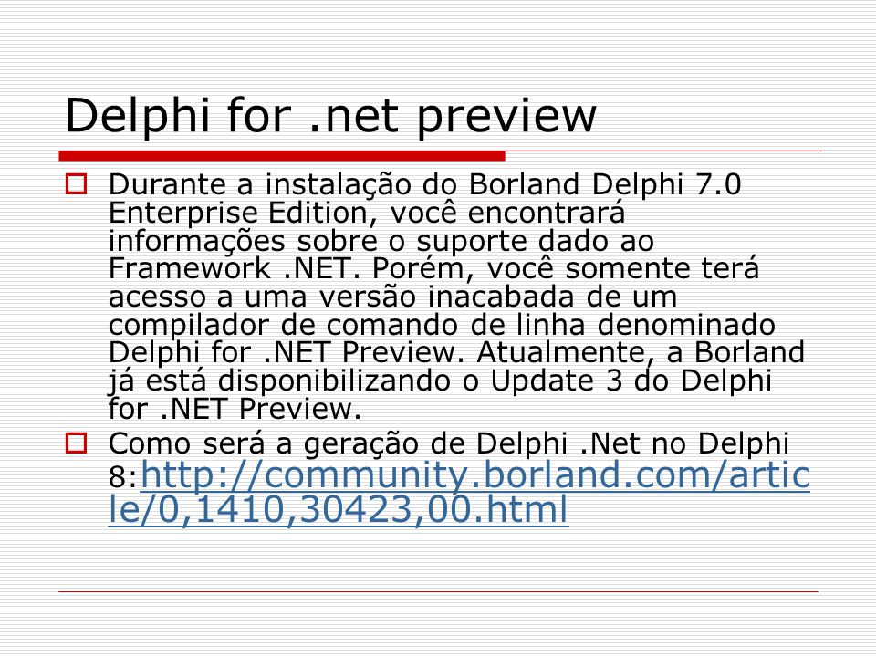 Delphi for .net preview