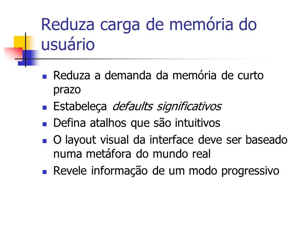 Reduza carga de memória do usuário