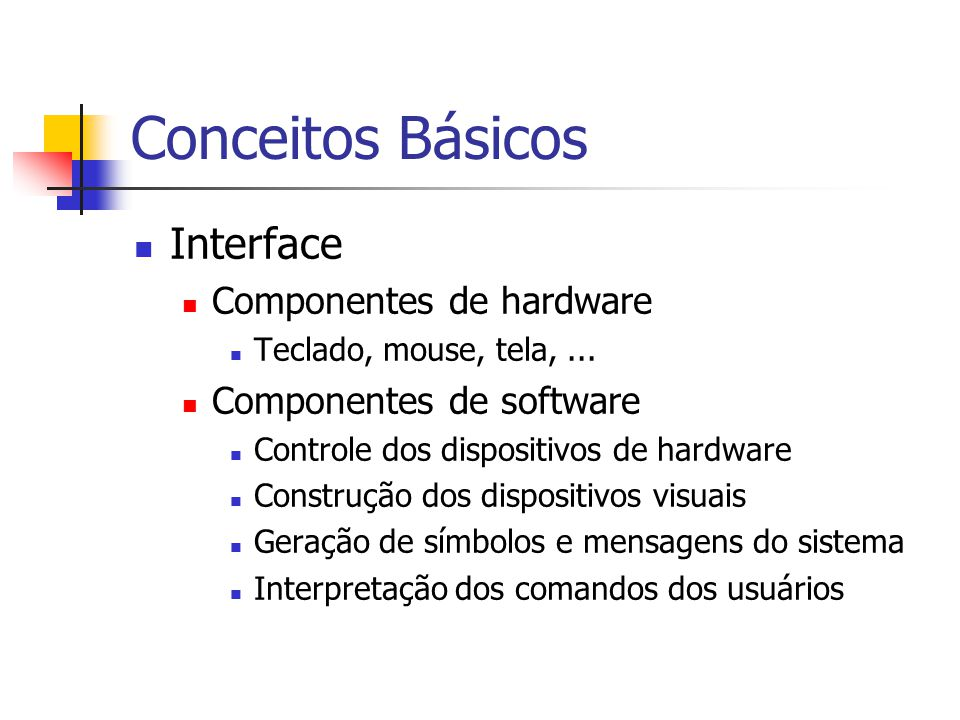 Conceitos Básicos Interface Componentes de hardware