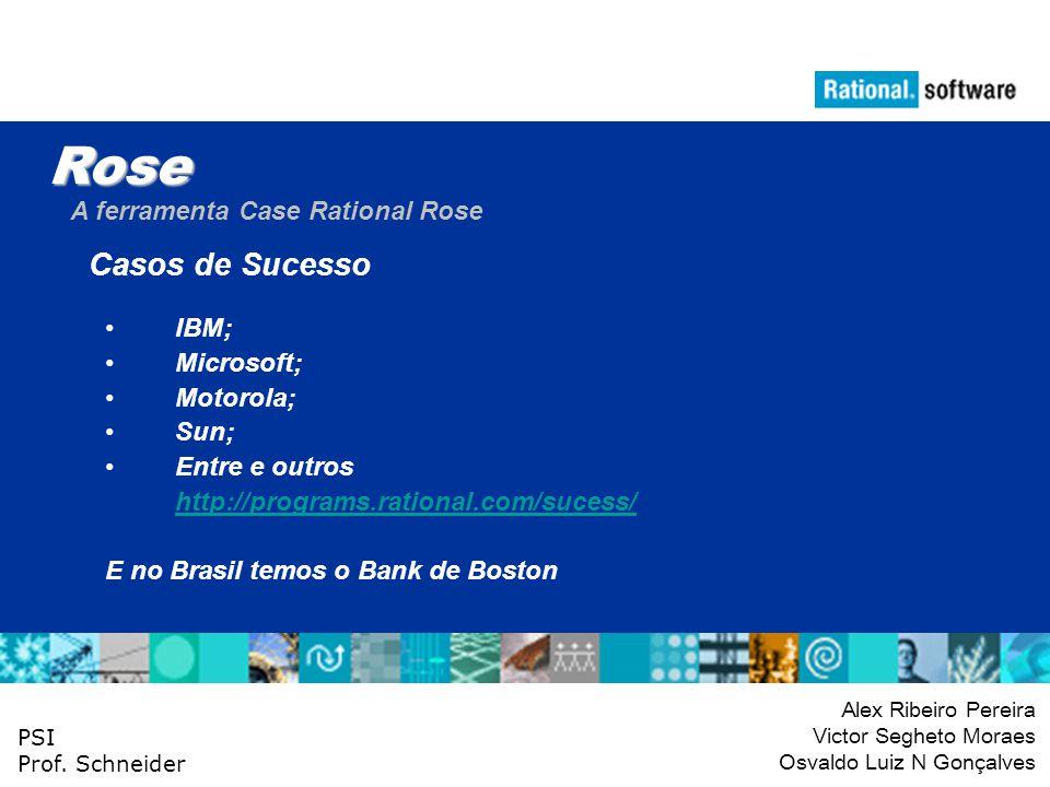 Rose Casos de Sucesso A ferramenta Case Rational Rose IBM; Microsoft;