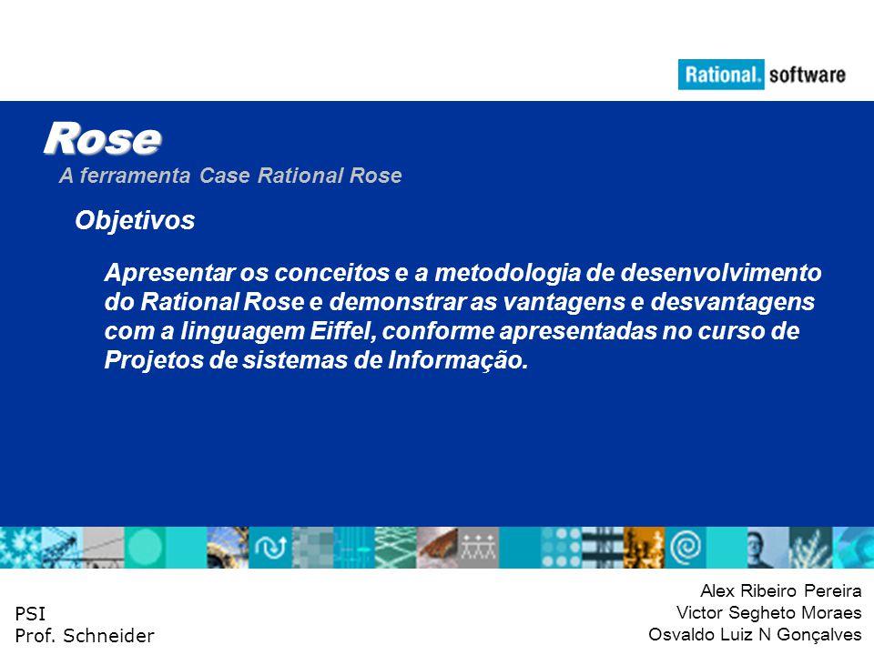 Rose A ferramenta Case Rational Rose. Objetivos. Apresentar os conceitos e a metodologia de desenvolvimento.