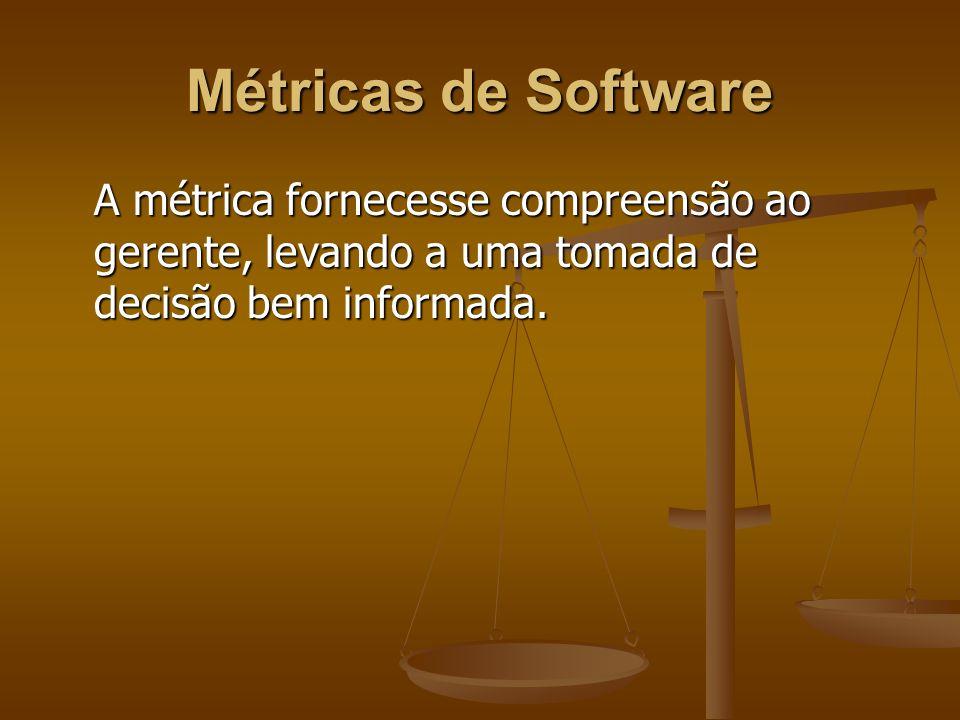 Métricas de Software A métrica fornecesse compreensão ao gerente, levando a uma tomada de decisão bem informada.