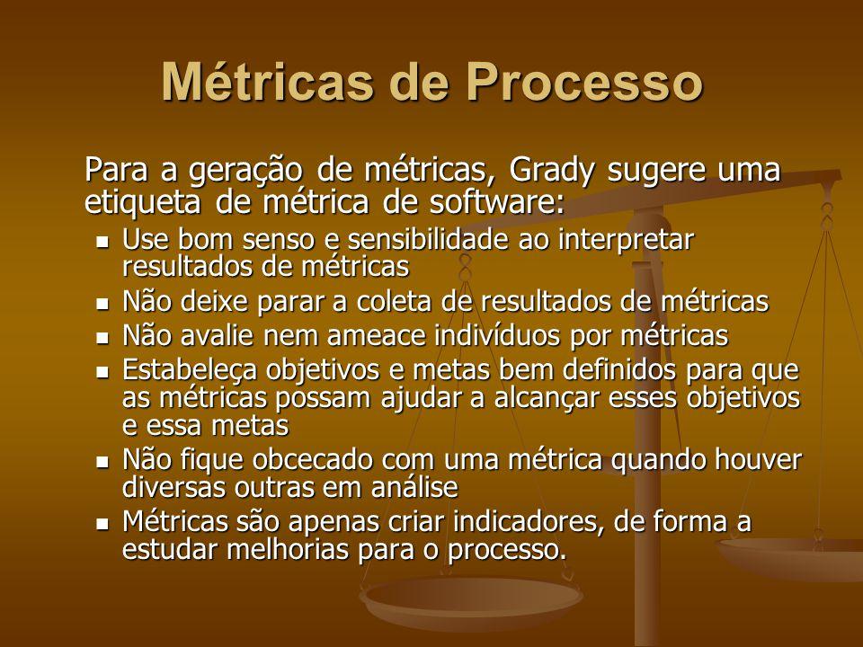 Métricas de Processo Para a geração de métricas, Grady sugere uma etiqueta de métrica de software: