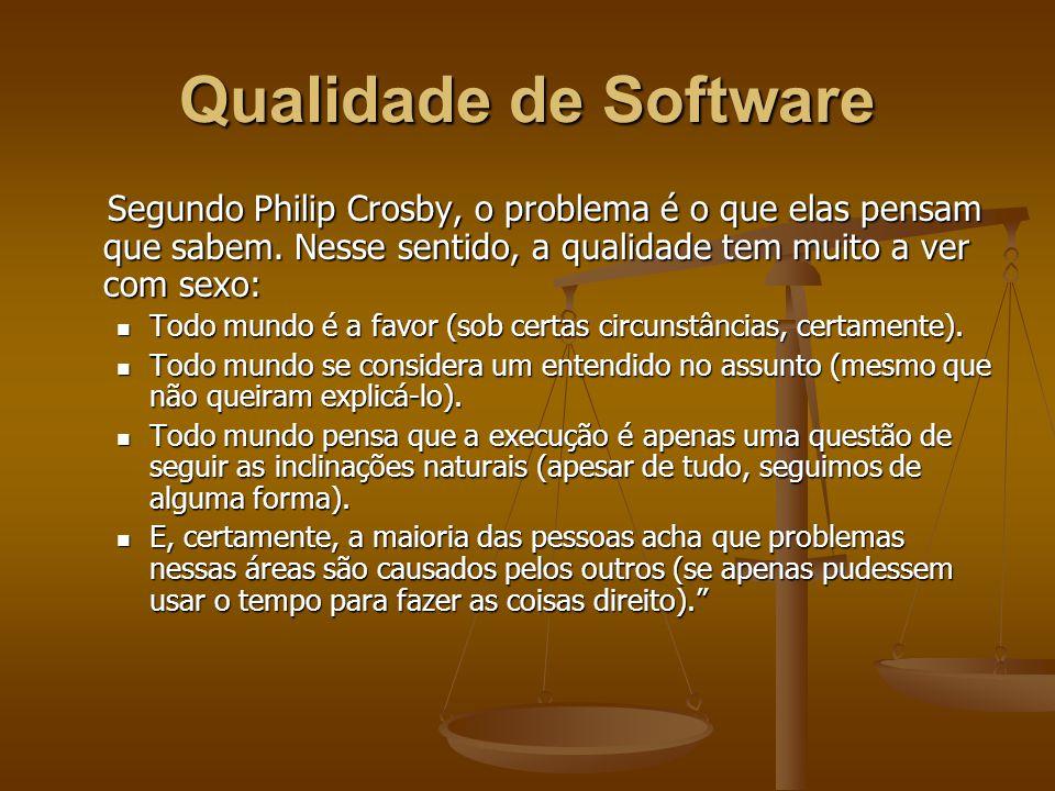 Qualidade de Software Segundo Philip Crosby, o problema é o que elas pensam que sabem. Nesse sentido, a qualidade tem muito a ver com sexo: