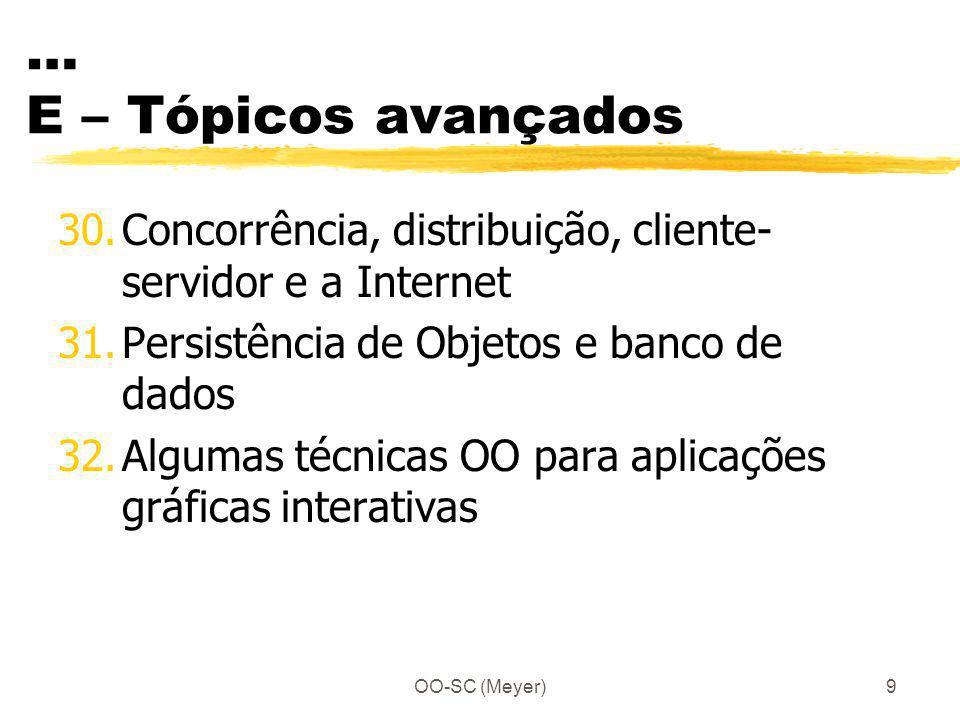 … E – Tópicos avançados Concorrência, distribuição, cliente-servidor e a Internet. Persistência de Objetos e banco de dados.