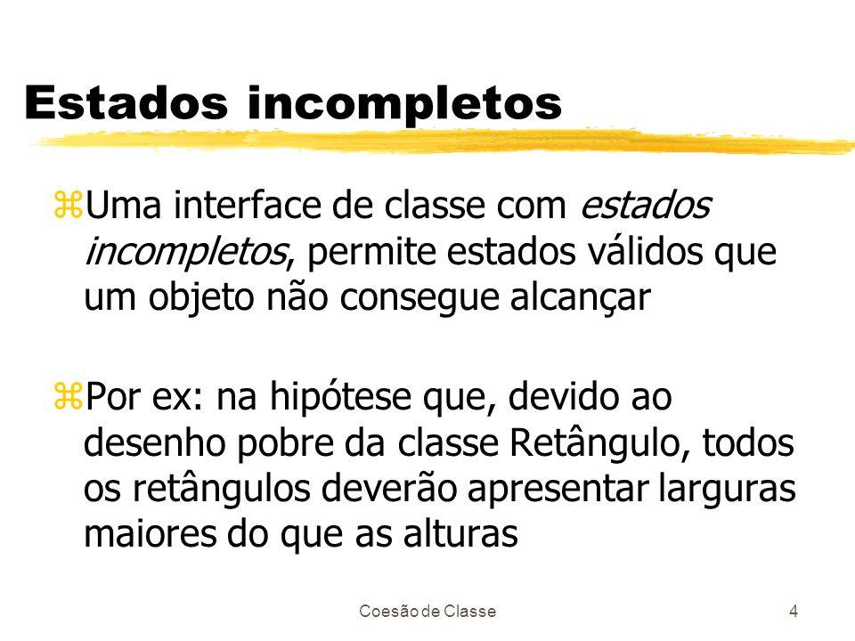 Estados incompletos Uma interface de classe com estados incompletos, permite estados válidos que um objeto não consegue alcançar.