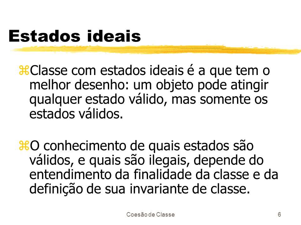 Estados ideais Classe com estados ideais é a que tem o melhor desenho: um objeto pode atingir qualquer estado válido, mas somente os estados válidos.