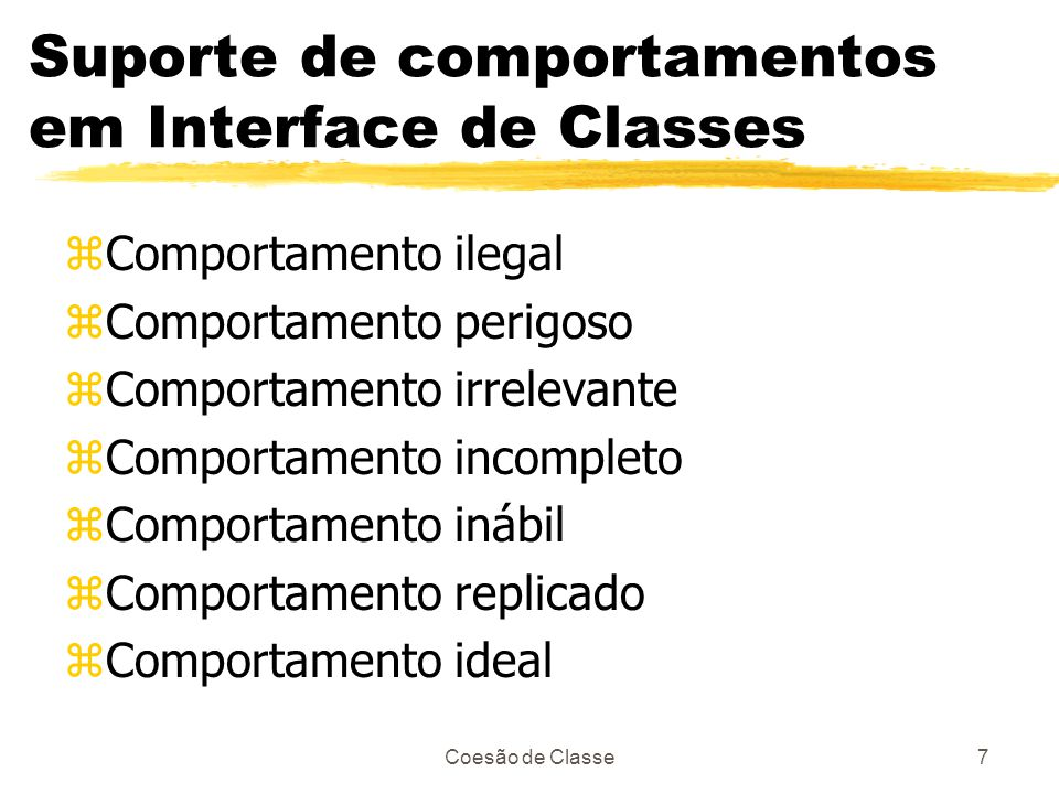 Suporte de comportamentos em Interface de Classes