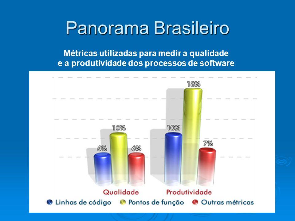 Panorama Brasileiro Métricas utilizadas para medir a qualidade e a produtividade dos processos de software.