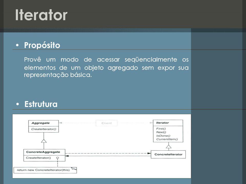 Iterator Propósito. Provê um modo de acessar seqüencialmente os elementos de um objeto agregado sem expor sua representação básica.