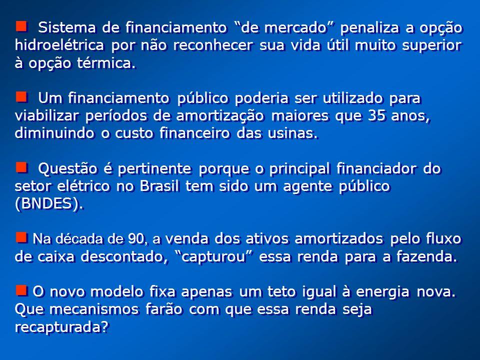Sistema de financiamento de mercado penaliza a opção hidroelétrica por não reconhecer sua vida útil muito superior à opção térmica.