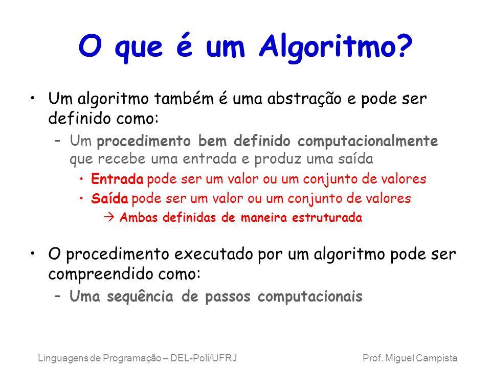 O que é um Algoritmo Um algoritmo também é uma abstração e pode ser definido como: