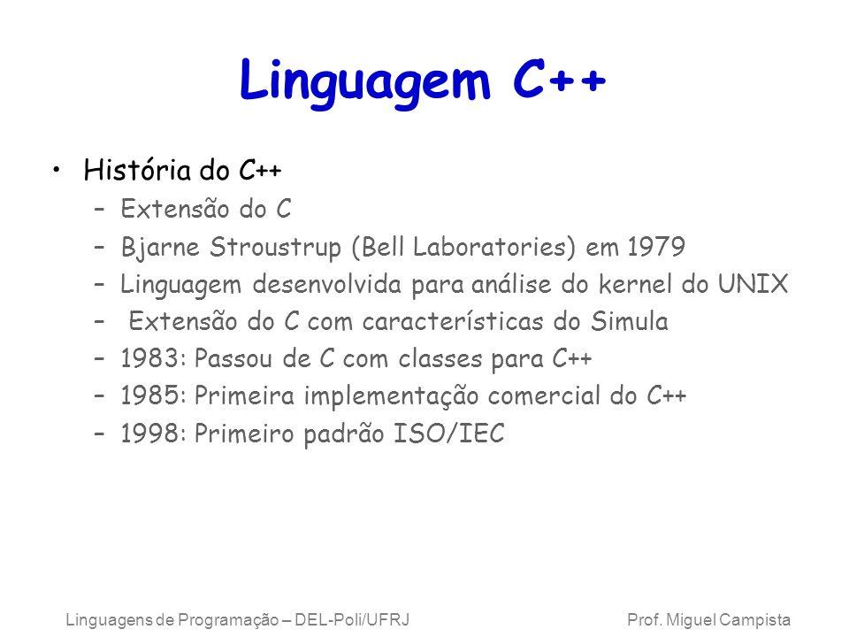 Linguagem C++ História do C++ Extensão do C