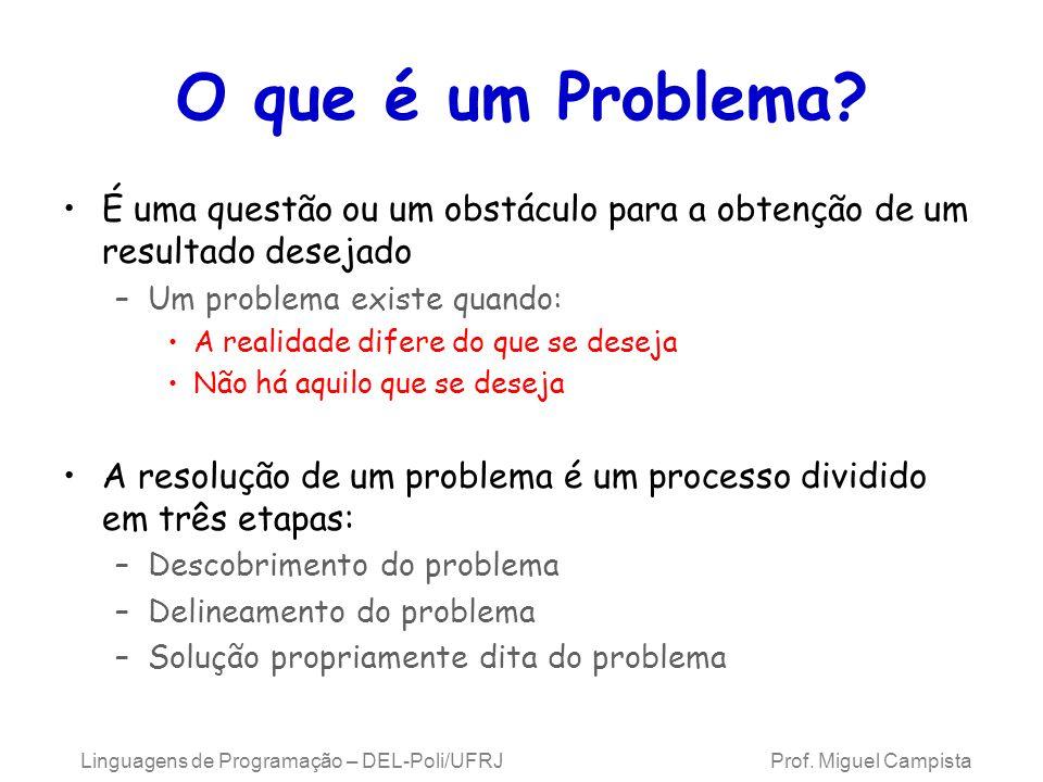 O que é um Problema É uma questão ou um obstáculo para a obtenção de um resultado desejado. Um problema existe quando: