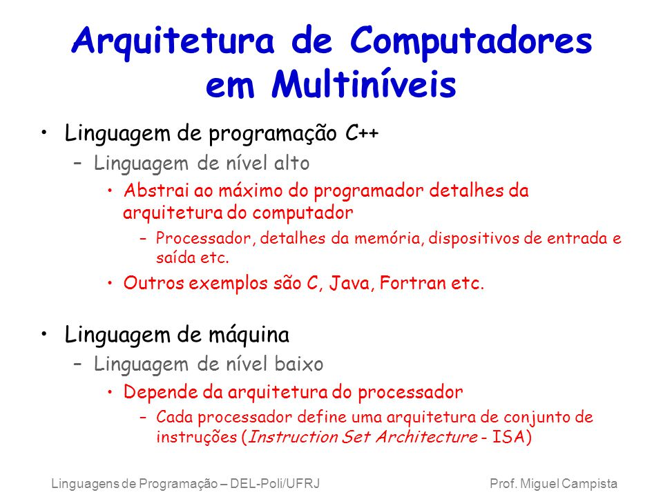 Arquitetura de Computadores em Multiníveis