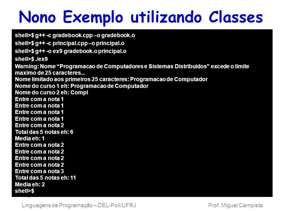 Nono Exemplo utilizando Classes em C++