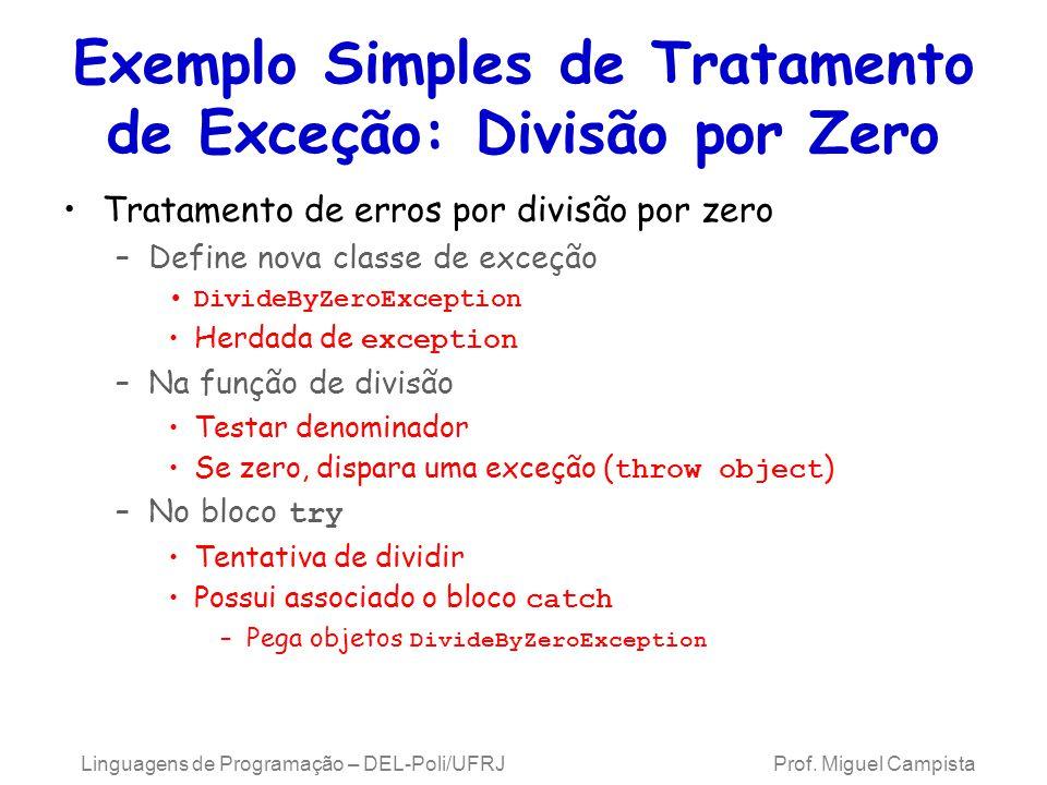 Exemplo Simples de Tratamento de Exceção: Divisão por Zero
