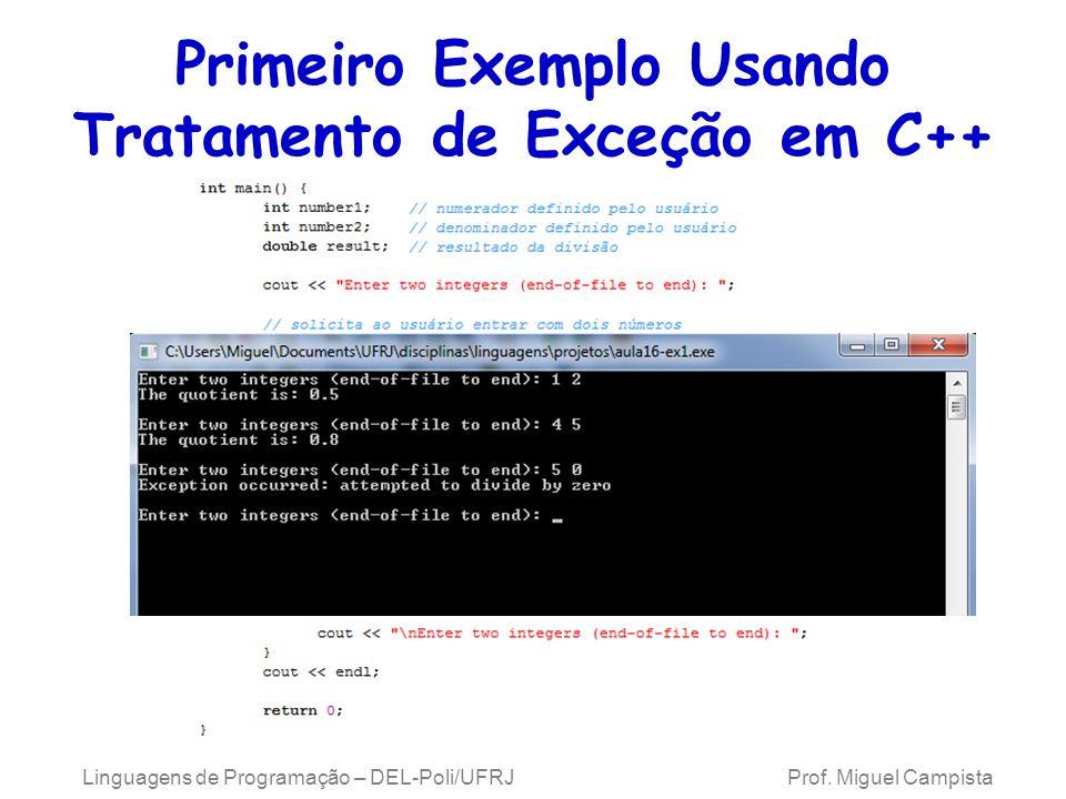 Primeiro Exemplo Usando Tratamento de Exceção em C++
