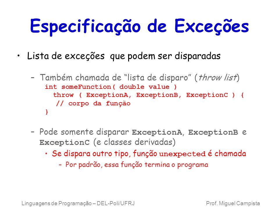Especificação de Exceções