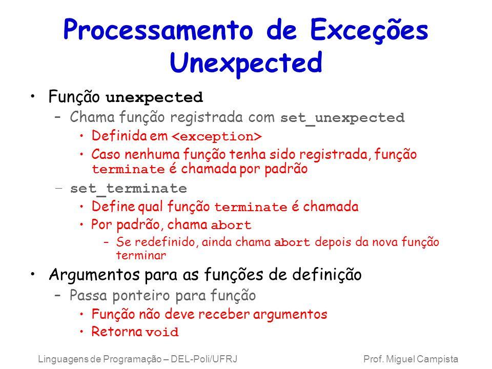 Processamento de Exceções Unexpected