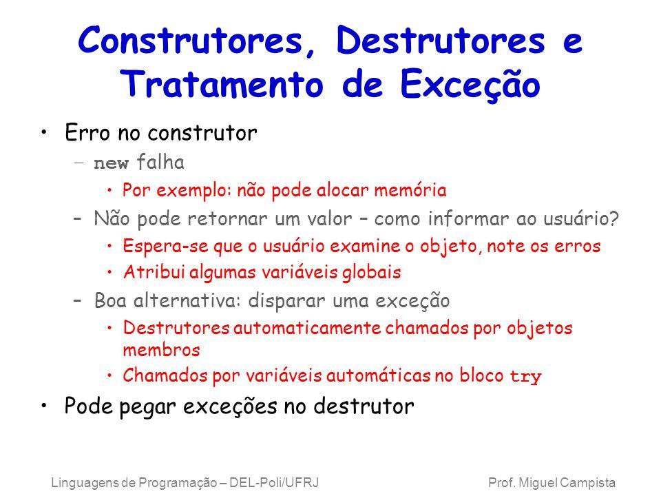 Construtores, Destrutores e Tratamento de Exceção