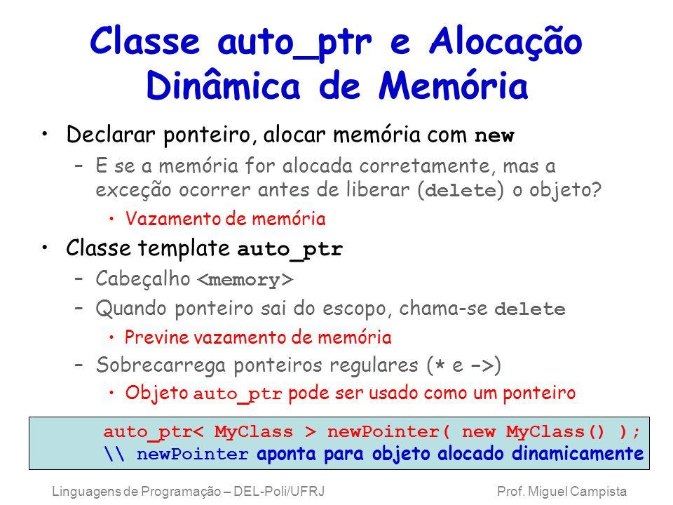 Classe auto_ptr e Alocação Dinâmica de Memória