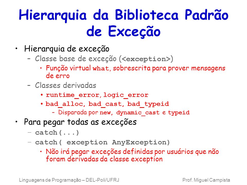 Hierarquia da Biblioteca Padrão de Exceção