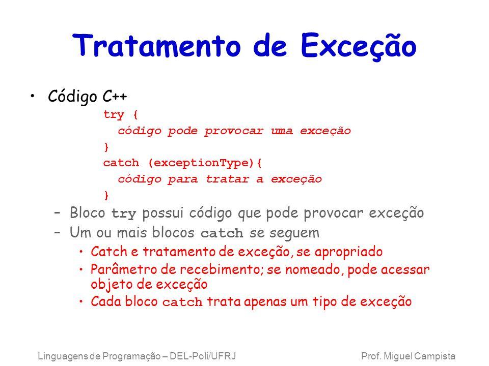 Tratamento de Exceção Código C++