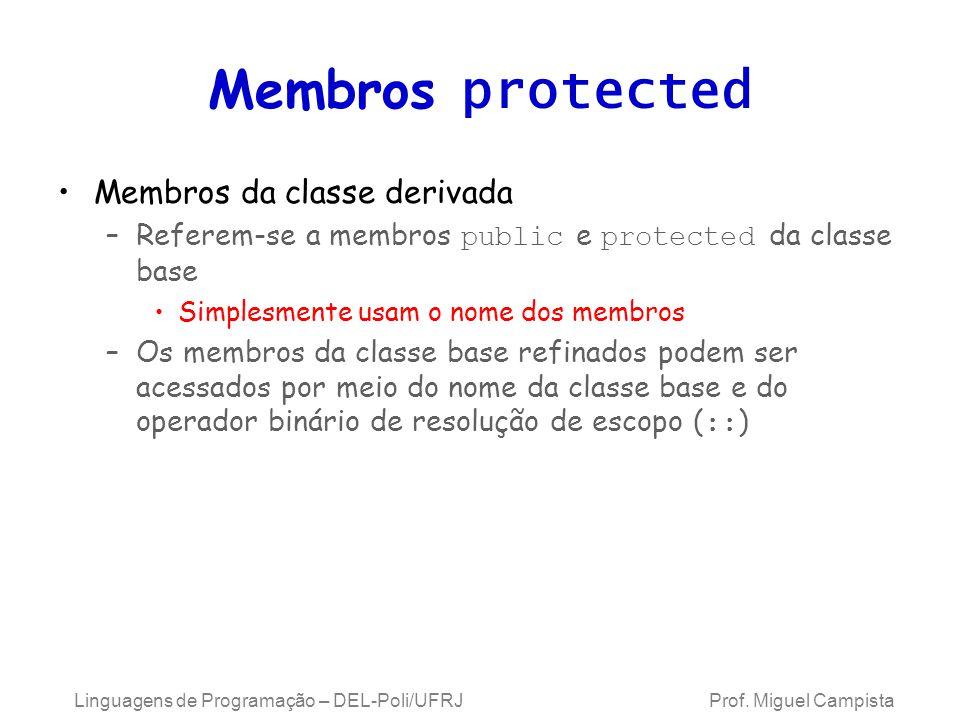 Membros protected Membros da classe derivada