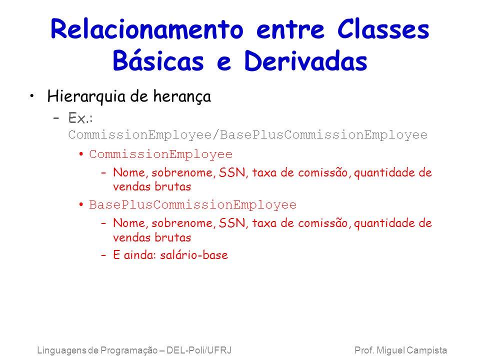 Relacionamento entre Classes Básicas e Derivadas