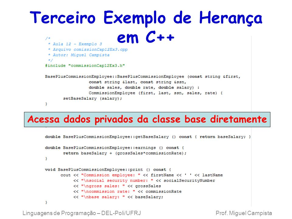 Terceiro Exemplo de Herança em C++