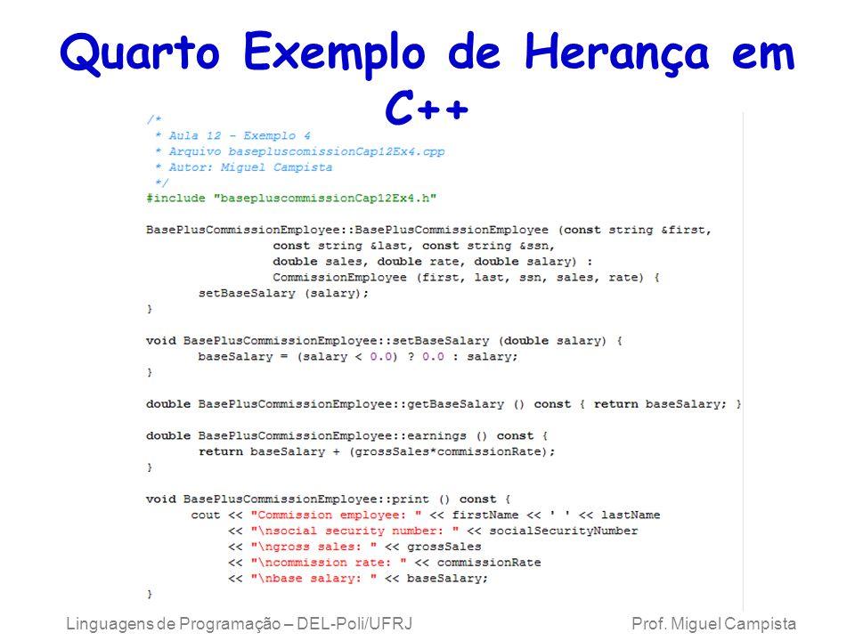Quarto Exemplo de Herança em C++