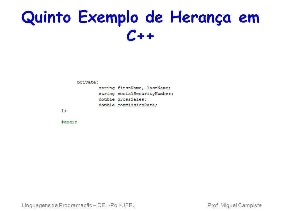 Quinto Exemplo de Herança em C++