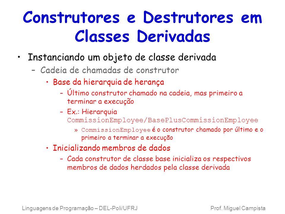 Construtores e Destrutores em Classes Derivadas