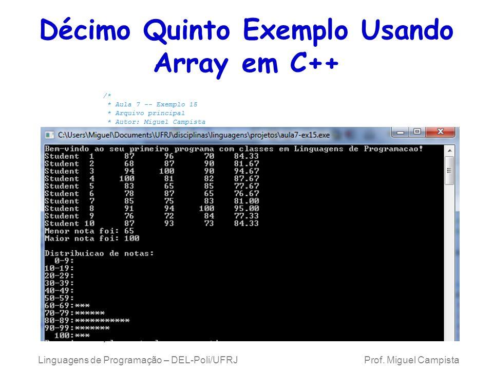 Décimo Quinto Exemplo Usando Array em C++